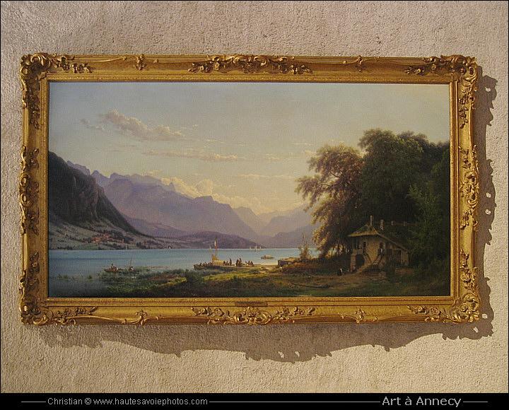 peinture du lac d 39 annecy par louis auguste lapito 1803 1874. Black Bedroom Furniture Sets. Home Design Ideas